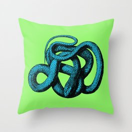 Snek 1 Snake Teal Turquoise Lime Green Throw Pillow