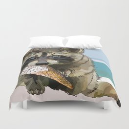Raccoon Eating Ice-cream on the Beach | Summer Vacation | Cute Baby Animal Duvet Cover