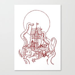 The Midnight Chateau Red Line Canvas Print