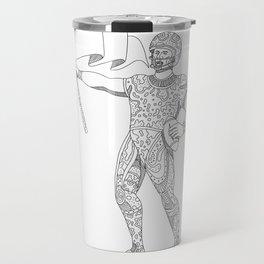 Quarterback Holding Flag Doodle Travel Mug