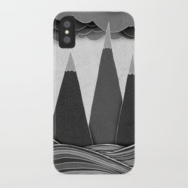 Clouds. Mountains. Water. (black and white) iPhone Case