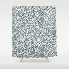 Blue Abstract Triangle Shape Pattern on Linen White - 2020 Color of the Year Chinese Porcelain Shower Curtain