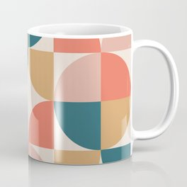 Mid Century Modern Geometric Pattern 436 Orange Teal Dusty Rose and Beige Coffee Mug