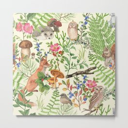 Hand drawn seamless pattern with watercolor forest animals and plants. Pattern for kids, wood inhabitants, cute animals Metal Print