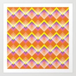 Yellow & Purple Chevron Art Print