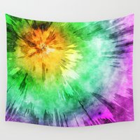 tie dye Wall Tapestries featuring Colorful Tie Dye Design by Phil Perkins