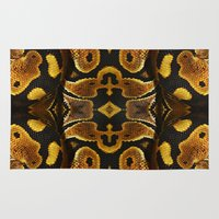 monty python Area & Throw Rugs featuring Ball Python by Moody Muse