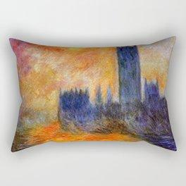 House of Parliament, London, Sun Breaking Through the Fog by Claude Monet Rectangular Pillow