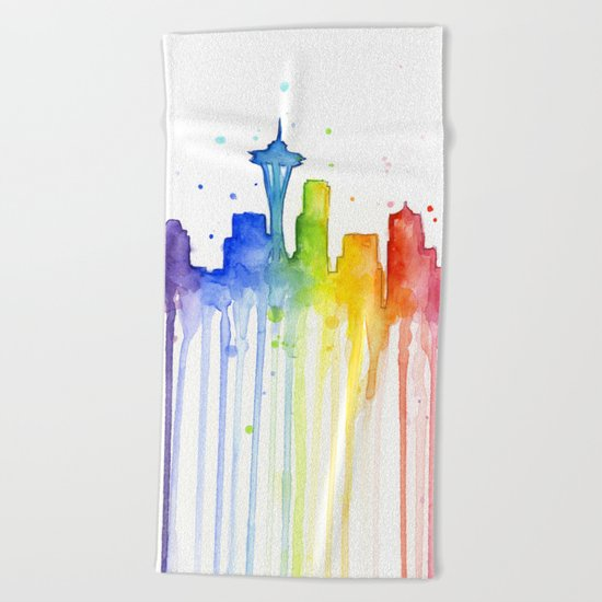 Seattle Rainbow Watercolor Beach Towel