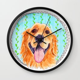 You're Never Fully Dressed without a Smile, Golden Retriever, Whimsical Watercolor Painting, White Wall Clock
