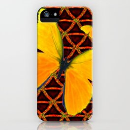 YELLOW BUTTERFLIES BROWN ART iPhone Case