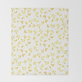 Yellow Leaves Throw Blanket
