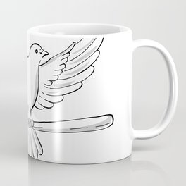 Pigeon or Dove Flying With Cane Drawing Coffee Mug