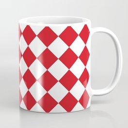Diamonds - White and Fire Engine Red Coffee Mug