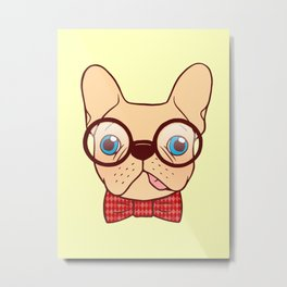 Preppy Frenchie is ready for school with his new bow tie Metal Print