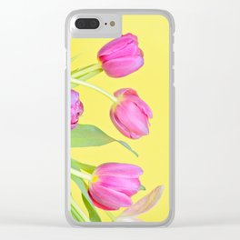 View to the easter pink tulips over yellow paper Clear iPhone Case