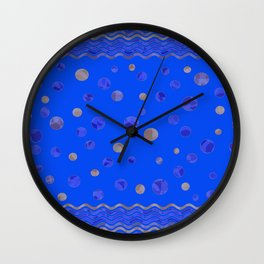 Waves and Dots - Royal Blue Wall Clock