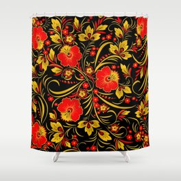 Russian khokhloma Shower Curtain