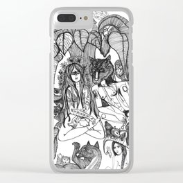 Wolf Yogi and Yogini Clear iPhone Case