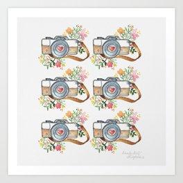 Colorful Watercolor Travel Camera Pattern Art Print