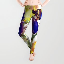Garden Irises Floral Artwork Yellow Purple Blue Floral design Leggings