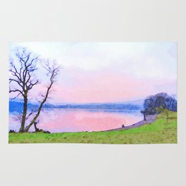 Calm Pink Sunset over Lake Windermere, Lake District, England Watercolor Painting Rug