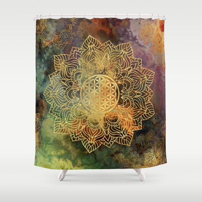 Flower Of Life Batik Shower Curtain