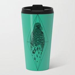 Geometric Crow in a diamond (tattoo style - black and white version) Travel Mug