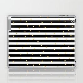 Modern black white gold polka dots striped pattern Laptop & iPad Skin