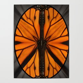 Monarch Butterfly wing Peace Symbol. The symbol began as the British symbol for nuclear disarmament. Poster