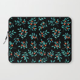 Botanical Teal Branches in Black  Laptop Sleeve