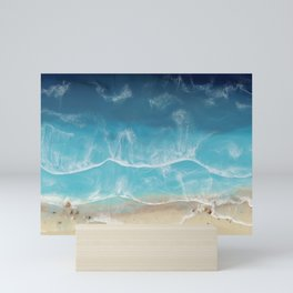 SERENITY BEACH - realistic resin seascape art, ocean art, coastal art, beach painting Mini Art Print