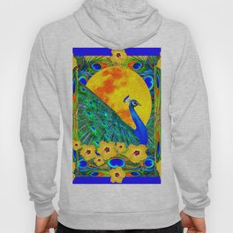 YELLOW HIBISCUS FULL GOLDEN MOON  BLUE PEACOCKS Hoody