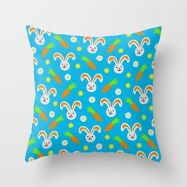 Easter Bunny and Carrots Pattern Throw Pillow