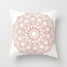 Rose Gold Sparkle Mandala Throw Pillow