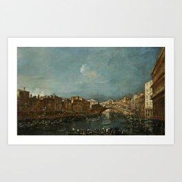 Francesco Guardi - Regatta at the Rialto Bridge Art Print