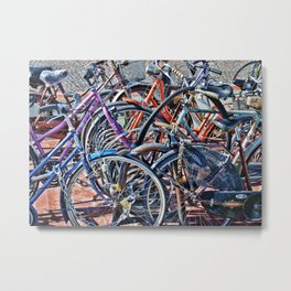 Lots of colorfull bycicles Metal Print