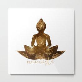Namaste Buddha Silhouette  Metal Print