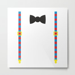 Gentleman's set-funny suspenders with stripes and a bow tie Metal Print