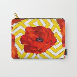 YELLOW CONTEMPORARY ORANGE-RED POPPY PATTERNS Carry-All Pouch