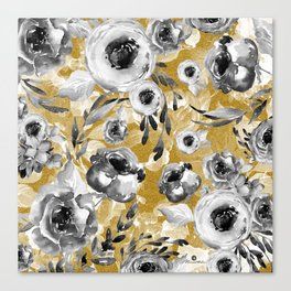 Black and white flowers with gold Canvas Print