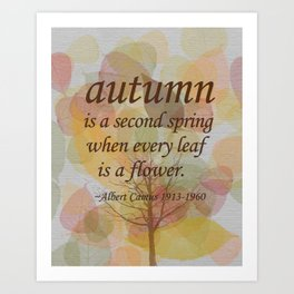 "Albert Camus Quote, ""Autumn is..."" 8x10 print Art Print"