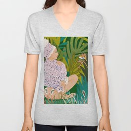 Guardian Angel, Tropical Travel Woman Cheetah Tiger Leopard, Terrazzo Boho Fashion Travel Wildlife Unisex V-Neck