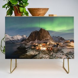 Northern Lights Over Hamnøy Credenza