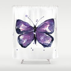 Purple Butterfly Watercolor Abstract Animal Art Shower Curtain