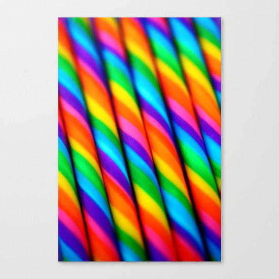Rainbow Candy : Candy Canes Canvas Print