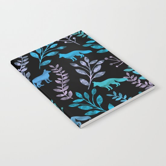 Watercolor Floral & Fox IV Notebook