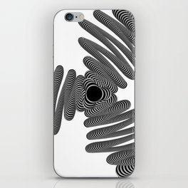 Black and White Striped Wired Illusion iPhone Skin