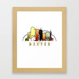 Colorful Denver Colorado Skyline Framed Art Print