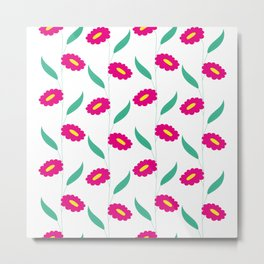 Floral stripes - pink and green Metal Print
